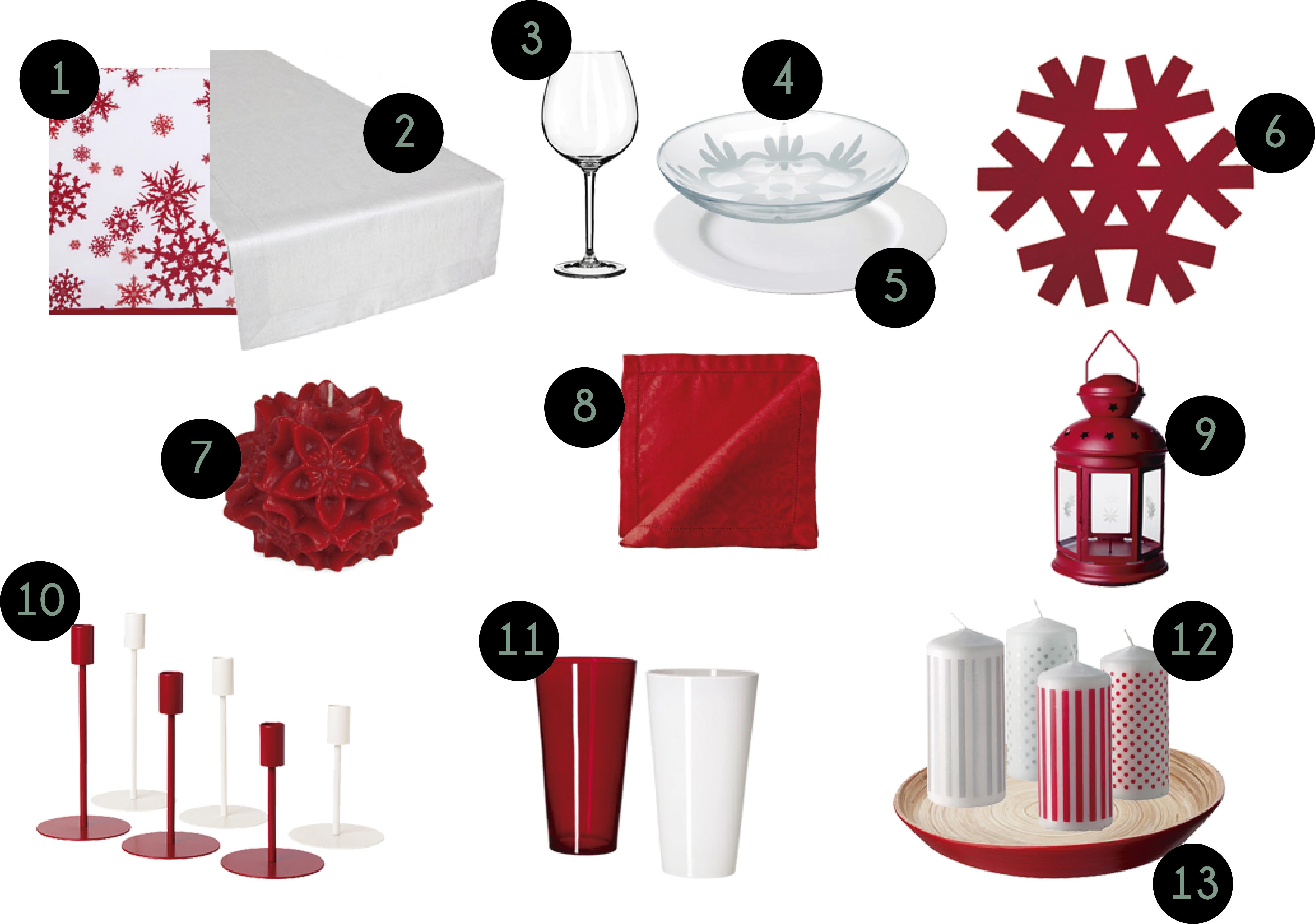 Mesa navidad rojo y blanco estilo escandinavo for Accesorios para decorar en navidad