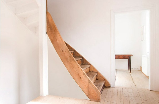 Wooden staircase at German Design Wooden House by architect FFM