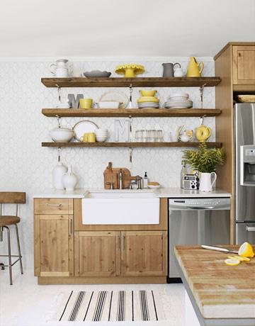 Organizar accesorios de cocina en estanter as abiertas - Estanterias para cocina ...