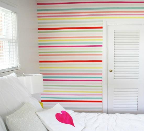 Decorar las paredes con washi tape estilo escandinavo - Decorar con washi tape ...